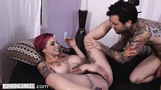 Tattooed whore squirts hard by the fat dick and drinks the pussy juices