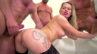 Perverted light haired Czech nurse Claudia Macc works on four stiff dicks