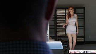 Fucking hot red head Lauren Phillips is eager for crazy sex with her young neighbor