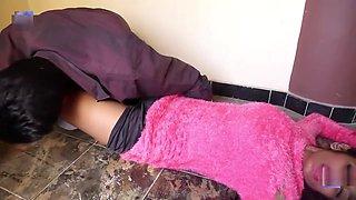 Slim girl romance in bra panty