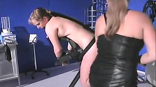 Mistress Teaches Large breasted Blond Lesson