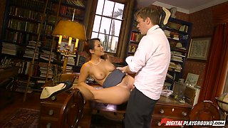 Hottie Eva Lovia seduces her man spreading legs wide open while sitting on the table