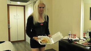 sadobitch - dinner with piss slut