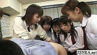 Subtitled CFNM Japanese schoolgirls teacher anal party