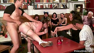 Huge tits redhead banged in public cafe