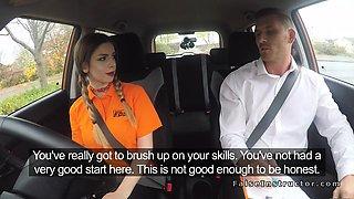 Busty beauty bangs examiner in car