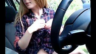 super cute teen masturbating inside her car