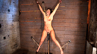 Wrist Suspension While Impaled On A Cock & Vibratoreach Brutal Orgasm Weakens & Further Impales. - HogTied
