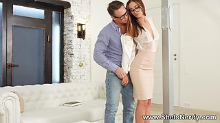 She Is Nerdy - Hazel Dew - Nerdy office girl loves anal