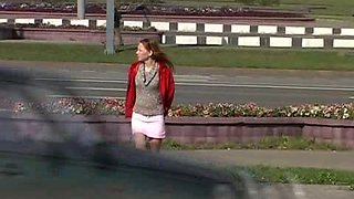 Cute Russian lady flashes her pussy in pantyhose in public