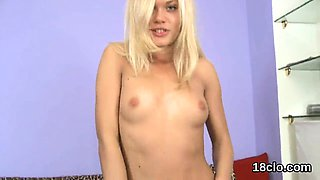 Innocent girl is gaping spread slit in close up and having o