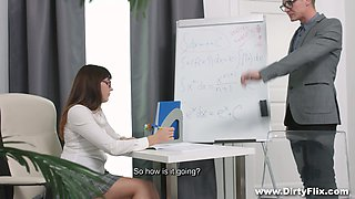 Shy nerdy babe in glasses Katty Blessed hooks up with her math tutor