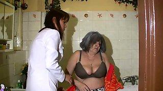OldNanny Sexy nurse shower granny, Granny with grandpa