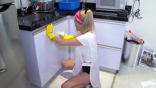 Sexy blonde Colombian maid Karla Rivera fucking