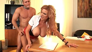 Redhead Secretary with Big Tits full of milk