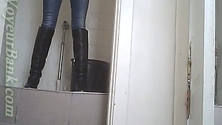 Brunette young stranger girl squats and pisses in the toilet