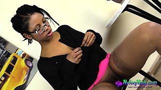 Ebony Babe With Glasses