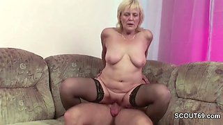 Young Boy Seduce Granny to get His First Fuck