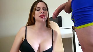 Ashley Alban - Secretary Red Lip Stick Blowjob
