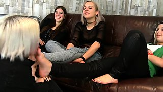 Kinky young lesbians playing out their foot fetish fantasy