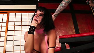Humiliated busty sub fisted while ass drilled