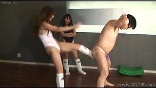 Japanese Mistress kicks the crotch of a slave