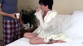 Sleeping mature wife has a young stud plowing her juicy cunt