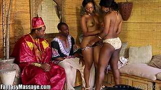 Hot African women give a nuru massage and get their pussies fucked