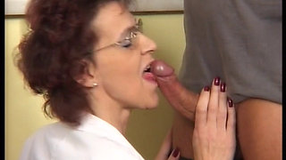 GERMAN SKINNY MATURE HILDE IN BLACK STOCKINGS