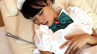 Sultry Japanese maid in uniform hangs on for a raging cock