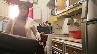 routine hijab arabic muslim in kitchen