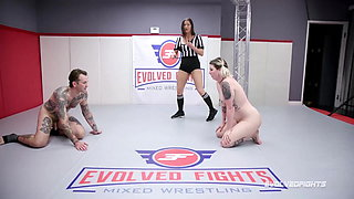 Riley Daniels mixed naked wrestling tied up and fucked