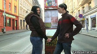 Cute plumper seduces him from the street
