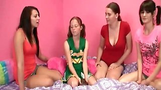 Tugjob in foursome with slim teen students