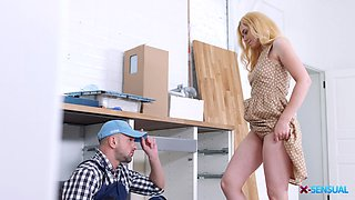 Naughty blonde Maia Little seduces a man for a lovemaking session