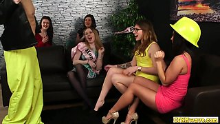 Hen Party Babes Watch Bride To Be Tug Cock