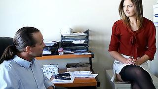 Smoking hot secretary blows her boss