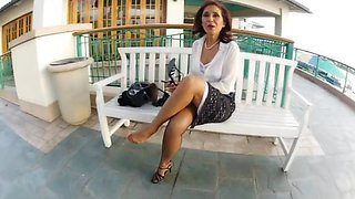 Changing her nylons in public