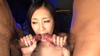 Abused Asian babe Kotone Amemiya gives a hardcore blowjob
