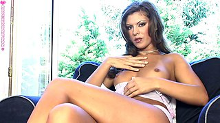 Brunette glamour goddess plays with her pussy and fucks a toy