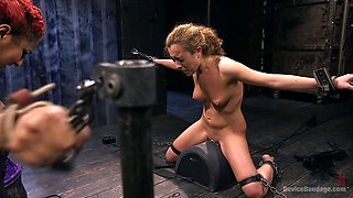 Whorish chick Roxanne Rae gets her cunt punished in the basement