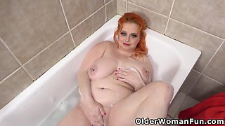 A Hot Bath Has A Magnificent Impact On Your Health As Redhead Bbw Milf Kathy Will Demonstrate Here