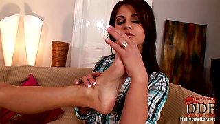 Hairy lesbian\'s foot fetish