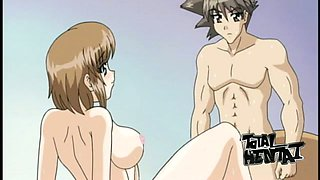 Awesome hentai of big breasted brown haired nympho giving good head
