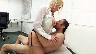 Blonde in stockings gets it in office