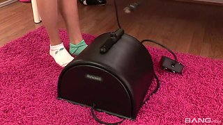 Stepdad caught his naughty stepdaughter riding her sybian
