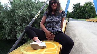 Hot wife flashing and dogging in public