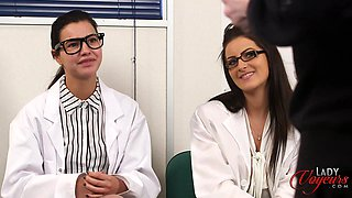 Doctor Lola Knight and her friend watch a naked man play with his cock