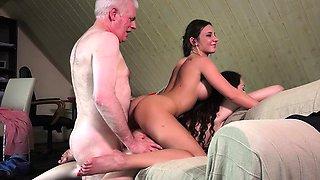 Grandpa Fucks Teenies Sweet Girls In Bedroom threesome