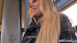 Busty Czech girl creampied by stranger dude in trains toilet